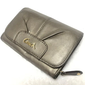 Coach Pewter Metallic Logo Wallet
